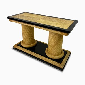 Rattan and Black Lacquer Console Table by Howard Dilday, 1970s