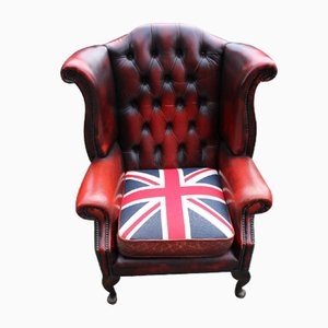Red Leather Wingback Armchair from Union Jack, 1960s
