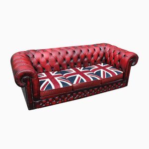 Red Leather 3-Seater Chesterfield Sofa from Union Jack, 1960s