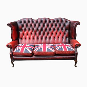 Red Leather Chesterfield Wingback 3-Seater Sofa, 1960s