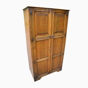 2-Door Oak Wardrobe with Linen Fold, 1960s