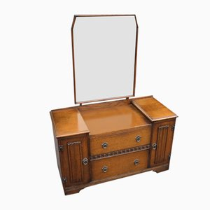 Oak Dressing Table with Linen Fold, 1940s