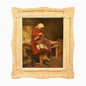 Retrato de mujer joven antigua, costura de niña, siglo XIX, pintura al óleo sobre lienzo
