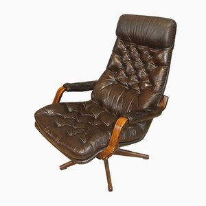 Leatherette & Bentwood Swivel Lounge Chair, 1970s
