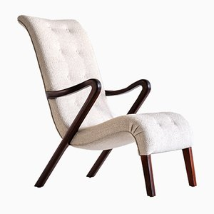 Armchair in Bouclé and Mahogany by Axel Larsson, Sweden, 1940s