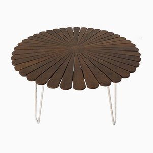 Mesa de jardín de acero tubular de teca de Daneline, Denmark, años 60