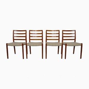 Dänische 85 Esszimmerstühle aus Teak & Wolle von Niels Otto Møller für JL Møllers, 1960er, 4er Set