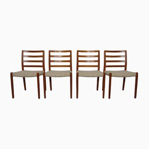 Danish Teak & Wool 85 Dining Chairs by Niels Otto Møller for J.L. Møllers, 1960s, Set of 4