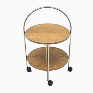 Oak and Chrome Foldable Serving Trolley, 1960s