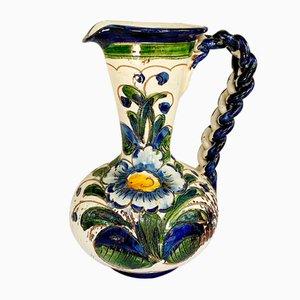 Jarrón italiano vintage de cerámica pintado a mano