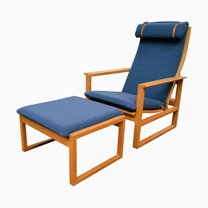 Vintage 2254 Lounge Chair and 2248 Ottoman by Børge Mogensen for Fredericia, Set of 2