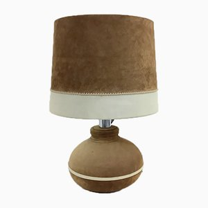 Hollywood Regency Suede Table Lamp, 1960s or 1970s