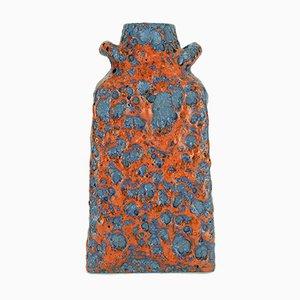 Keramik Fat Lava Vase mit Glasur in Orange und Blau von ES-Keramik