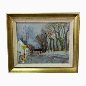 Pintura al óleo sueca moderna de John Börén, años 50