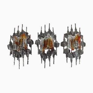 Brutalistische Vintage Wandlampen, 3er Set