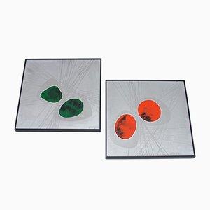 Aluminium & Emaille Wandteller von Jung, Germany, 1977, 2er Set