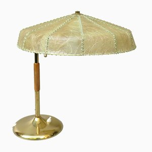 Brass Table Lamp with Cocoon Shade & Trumpet Base, Austria, 1960s