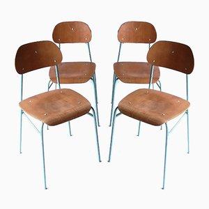 Vintage School Chairs, 1960s, Set of 4