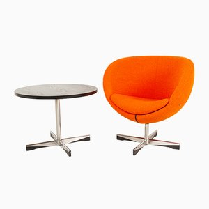 Scandinavian Modern Lounge Chair and Table by Sven Ivar Dysthe, 21st-Century, Set of 2