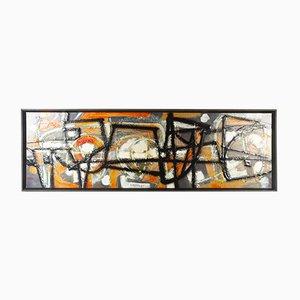 Composición danesa abstracta esmaltada sobre metal de Knud Horup, años 50