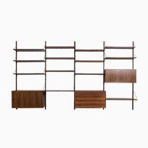 Mueble de pared de palisandro con mueble bar, escritorio, cajonera y 12 estantes de Thygesen & Sørensen para Hansen & Guldborg, años 60