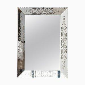 Art Deco Rectangular Faceted Wall Hanging Mirror