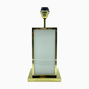 Brass and Ivory Acrylic Table Lamp in the Style of Romeo Rega, Italy, 1970s
