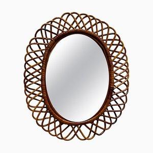 Mid-Century Italian Modern Rattan and Bamboo Wall Mirror by Franco Albini