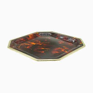 Brass and Faux Tortoise Octagonal Tray from Christian Dior, 1970s