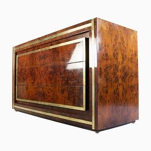 Cajonera vintage de madera nudosa de Willy Rizzo, Italy, años 70