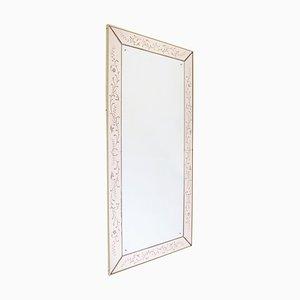 Espejo Mid-Century grande grabado en rosa, Italia