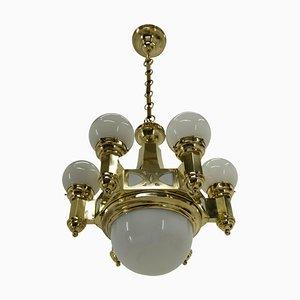 Lámpara de araña modernista de Emil Kralik para Vulkania, años 20