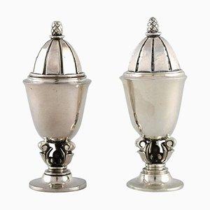 Salero y pimentero Bellota de plata esterlina de Georg Jensen. Juego de 2