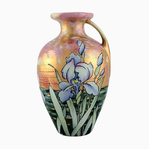 Antique Art Nouveau Vase in Porcelain with Flowers from Heubach Germany, 1900s