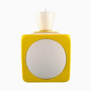 Scandinavian Ceiling Pendant in White and Yellow Plastic, 1970s