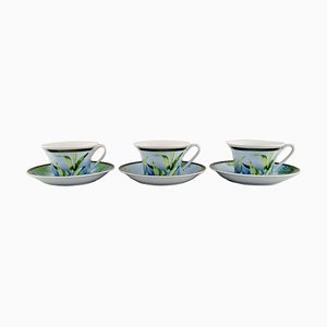 Jungle Teacups with Saucers in Porcelain by Gianni Versace for Rosenthal, Set of 6