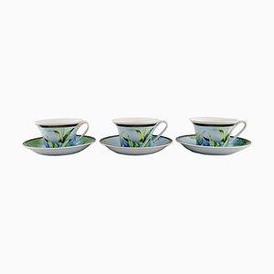 Tazas de té Jungle con platillos de porcelana de Gianni Versace para Rosenthal. Juego de 6
