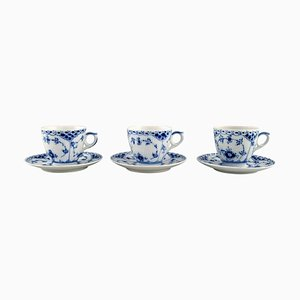 Blue Fluted Half Lace Coffee Cups with Saucers from Royal Copenhagen, 1980s Set of 6