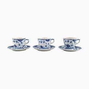 Tazas de café estriadas en azul con platillos de Royal Copenhagen, años 80. Juego de 6