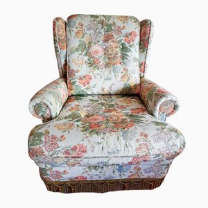 Mid-Century Lounge Chair with Floral Pattern