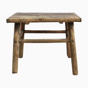 Antiker rustikaler Lampentisch aus Ulmenholz