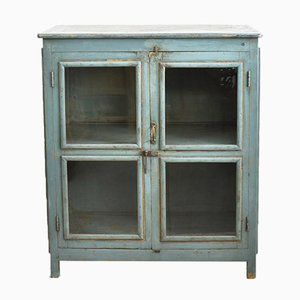 Blue Vintage Glass Fronted Cupboard