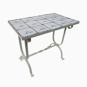 Mesa auxiliar vintage con azulejos holandeses antiguos de Delf