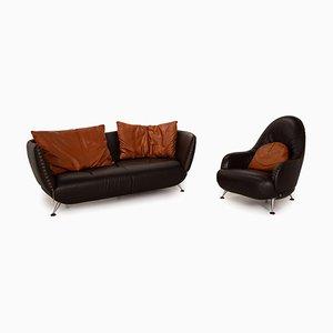 Juego de sofás DS 102 de cuero marrón de de Sede. Juego de 2