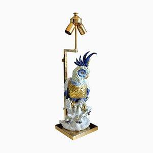 Italienische Kakadu Porzellan Lampe mit Schirm von Artistiche Firence, 1970er