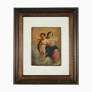 Virgen con el niño, óleo sobre tabla