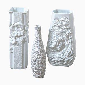 Textural Ammonite White Porcelain Vases from Kaiser, Germany, Set of 3