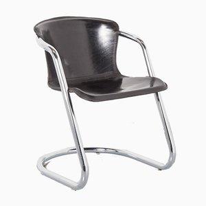 Schwarzer Tubular Chrom Stuhl von Willy Rizzo für Cidue