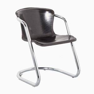 Tubular Chrome Black Chair by Willy Rizzo for Cidue