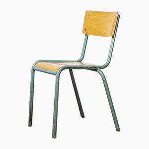 Model 510/1 Mint Green French Mullca Stacking Dining Chairs, 1950s, Set of 24